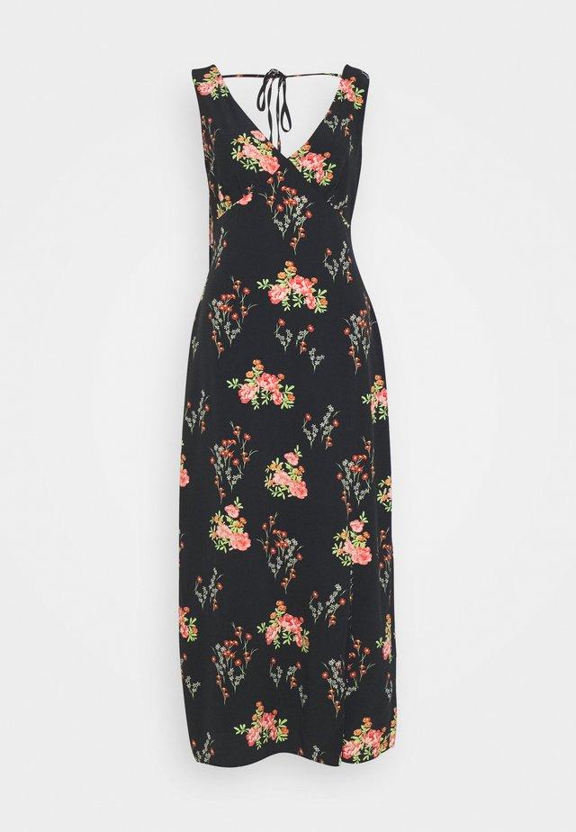 DRESS FLORAL SPLIT - Vestido informal - black/pink