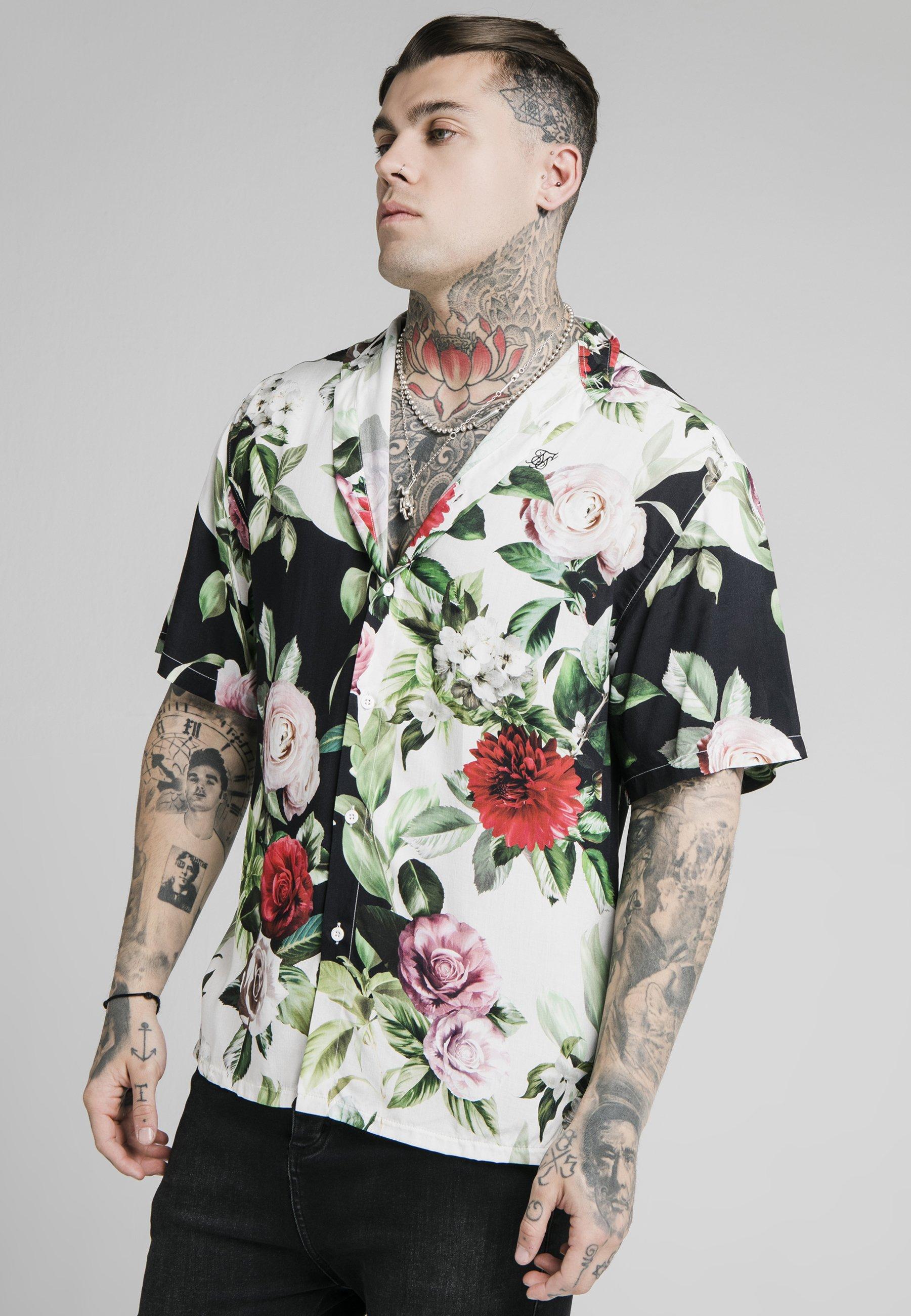 Men FLORAL PIXEL HIGH COLLAR RESORT - Shirt