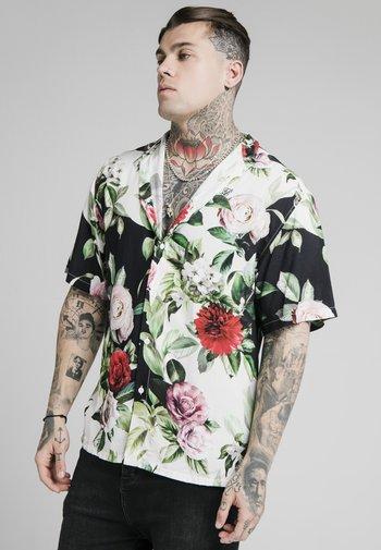 FLORAL PIXEL HIGH COLLAR RESORT - Shirt - black