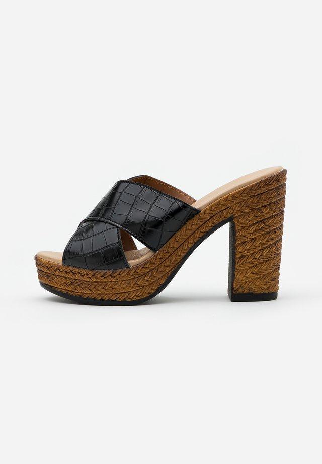 Pantofle na podpatku - black