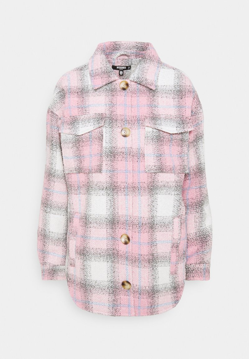 Missguided Petite - OVERSIZED CHECK SHACKET - Short coat - pink