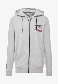 Tommy Jeans - ESSENTIAL GRAPHIC ZIP TROUGH - Hoodie met rits - light grey heather - 4