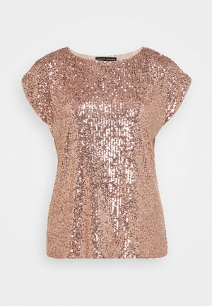 SEQUIN TEE - T-shirt z nadrukiem - rose gold
