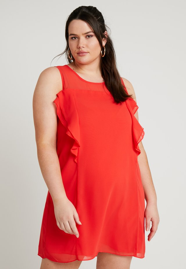 RUFFLE DETAIL SHIFT DRESS - Cocktailkjole - red/coral