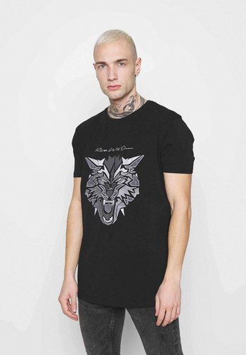 WOLF TEE - Print T-shirt - black/silver