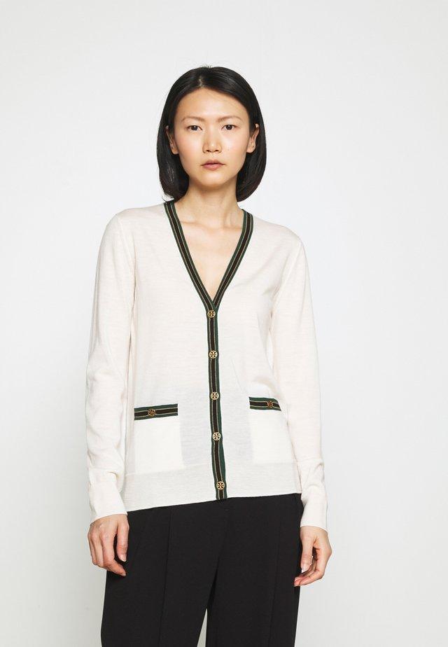 COLOR BLOCK MADELINE CARDIGAN - Vest - new ivory/malachite