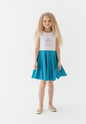 WITH CAT - Day dress - white/turquoise