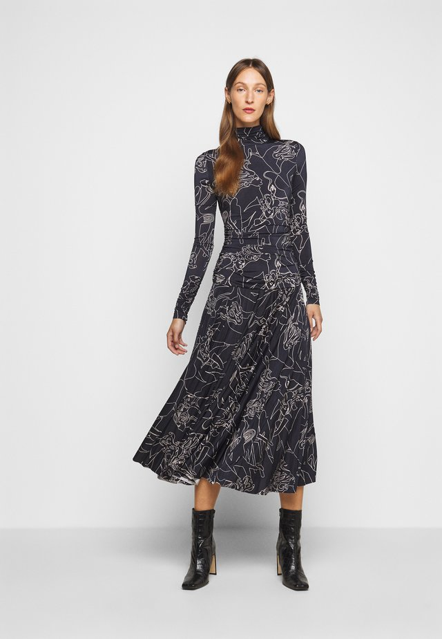 PRINTED PLEATED DRESS - Vestito di maglina - midnight blue