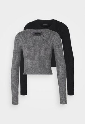 2 PACK CROPPED JUMPER - Strikpullover /Striktrøjer - mottled grey
