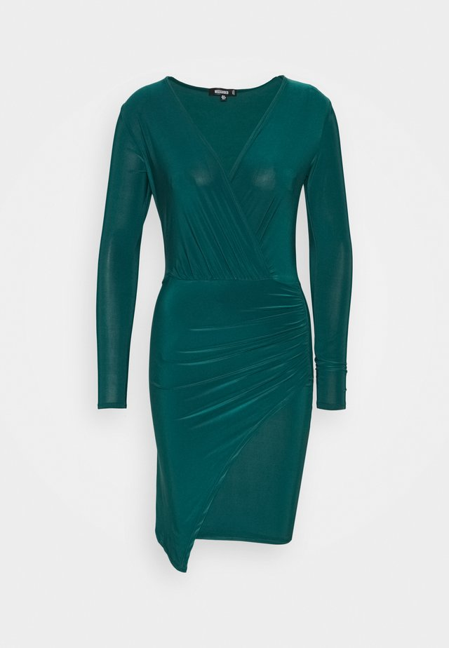 SLINKY WRAP OVER MINI DRESS - Sukienka etui - forest green