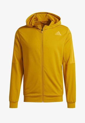 AEROREADY 3-STRIPES COLD WEATHER KNIT HOODIE - Sudadera con cremallera - gold