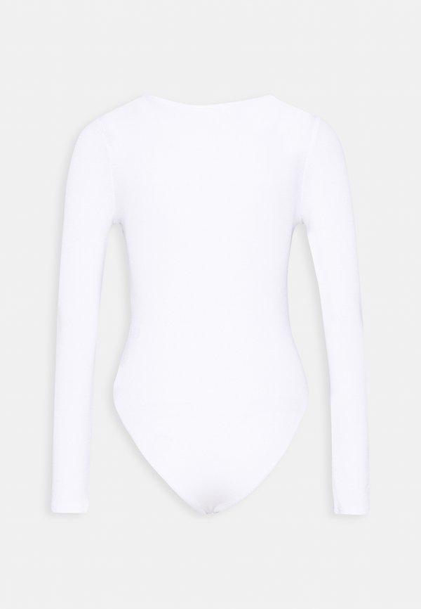 Missguided Petite V NECK BODYSUIT - Bluzka z długim rękawem - white Kolor jednolity Odzież Damska EHDJ AQ 9