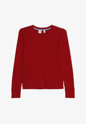 GIRLS UNI CABLE CARDI - Strikjakke /Cardigans - ruby red