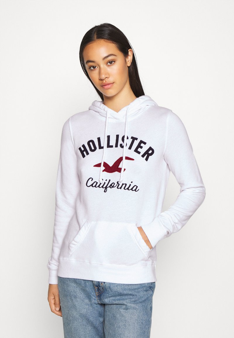 Hollister Co. - TERRY TECH CORE - Jersey con capucha - white