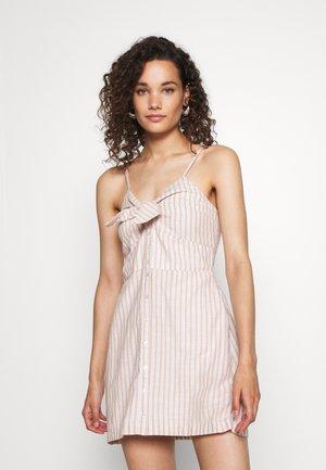 BARE BUTTON THRU MINI - Day dress - tan/white