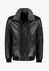DNR Jackets - MIT KONTRASTFUTTER UND REISSVERSCHLUSS - Leather jacket - dunkelgrau - 0