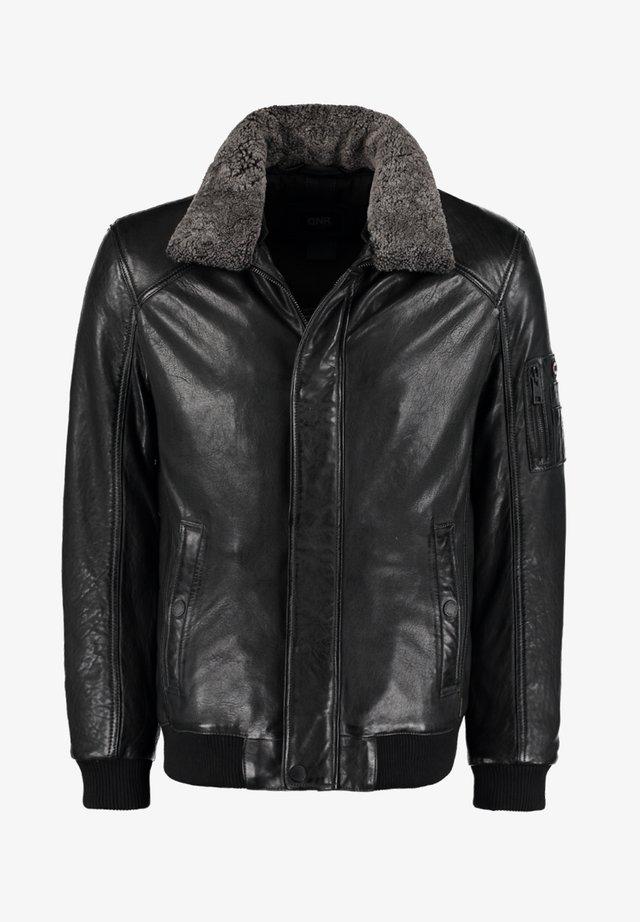 MIT KONTRASTFUTTER UND REISSVERSCHLUSS - Leather jacket - dunkelgrau