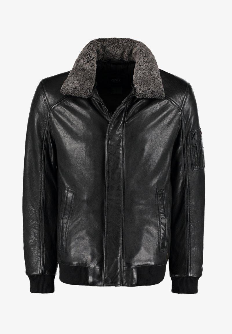 DNR Jackets - MIT KONTRASTFUTTER UND REISSVERSCHLUSS - Leather jacket - dunkelgrau