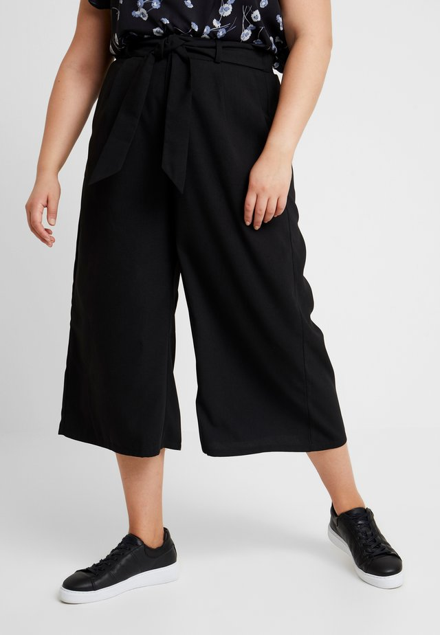 PAPER BAG WAIST WIDE LEG TROUSER - Bukse - black
