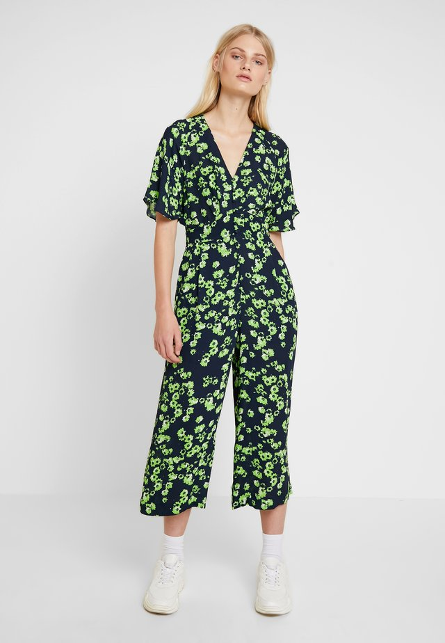 DIGITAL DAISY PRINT BUTTON - Jumpsuit - navy/multi