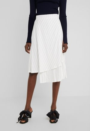 LIZZY WRAP TWO TONE TWILL - A-line skirt - cloud dancer / black
