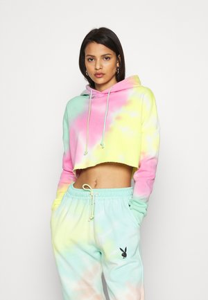 TIE DYE CROPPED OVERSIZE HOODIE - Jersey con capucha - multi-coloured