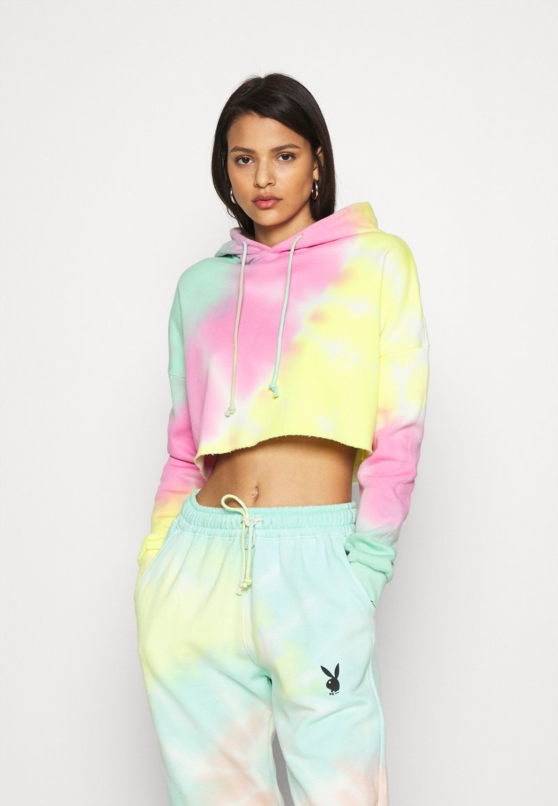 Missguided - TIE DYE CROPPED OVERSIZE HOODIE - Jersey con capucha - multi-coloured