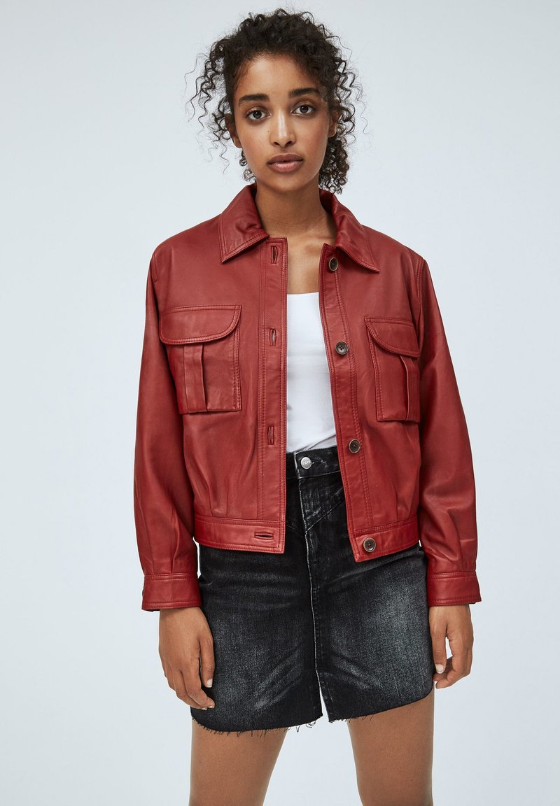 Pepe Jeans - LENA - Leather jacket - tibetan red