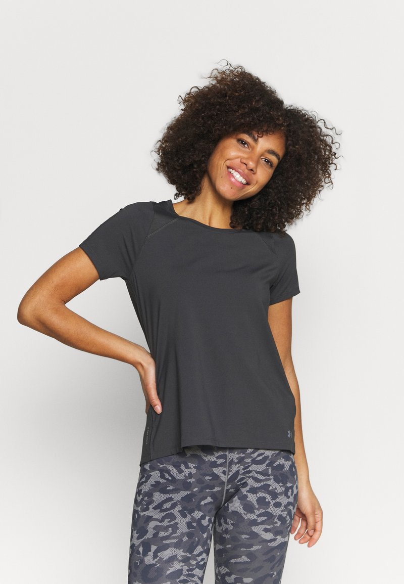 Under Armour - ISO CHILL RUN  - T-shirts med print - jet gray