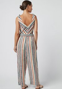 Next - MULTI STRIPE LINEN BLEND TIE SHOULDER JUMPSUIT - Jumpsuit - orange