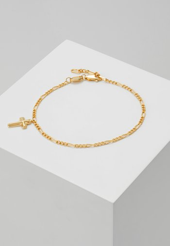 ANGULAR CROSS CHARM CHAIN - Bracelet - gold-coloured