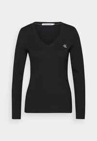 V NECK - Long sleeved top - black