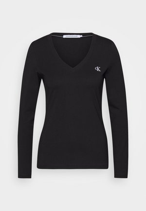 V NECK - Long sleeved top - black