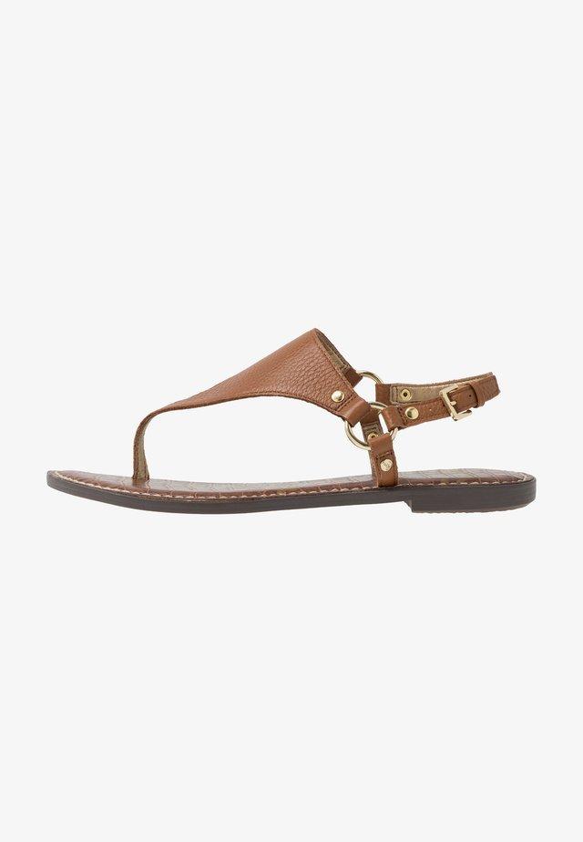 GRETA - T-bar sandals - saddle