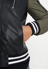 Be Edgy - BESASCHA - Veste en cuir - black/oliv - 3