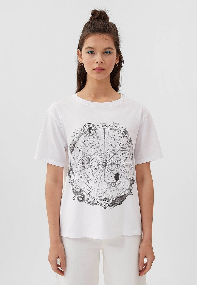 Stradivarius - Print T-shirt - off-white