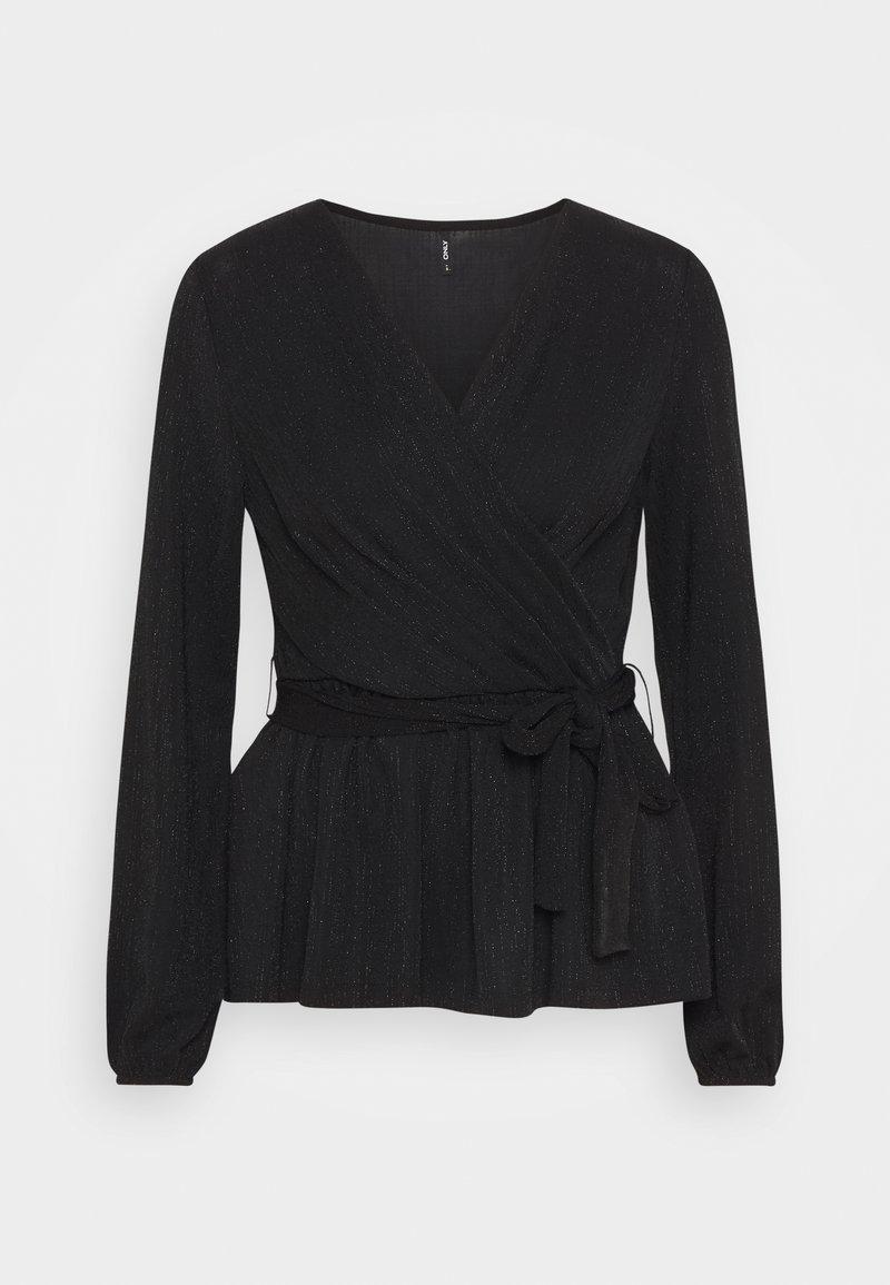 ONLY - ONLFURIOUS GLITTER WRAP - Blouse - black/black