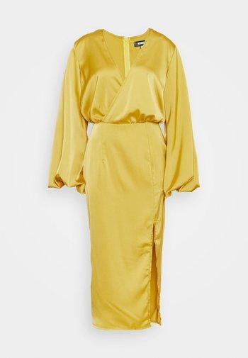 BALLOON SLEEVE WRAP FRONT DRESS