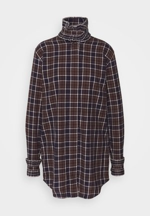 RUFFLE - Button-down blouse - brown/navy