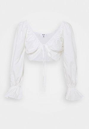BALLOON SLEEVE TIE UP CROP - Blusa - white