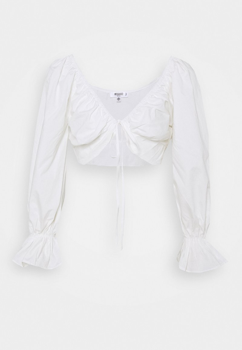 Missguided Petite - BALLOON SLEEVE TIE UP CROP - Blouse - white