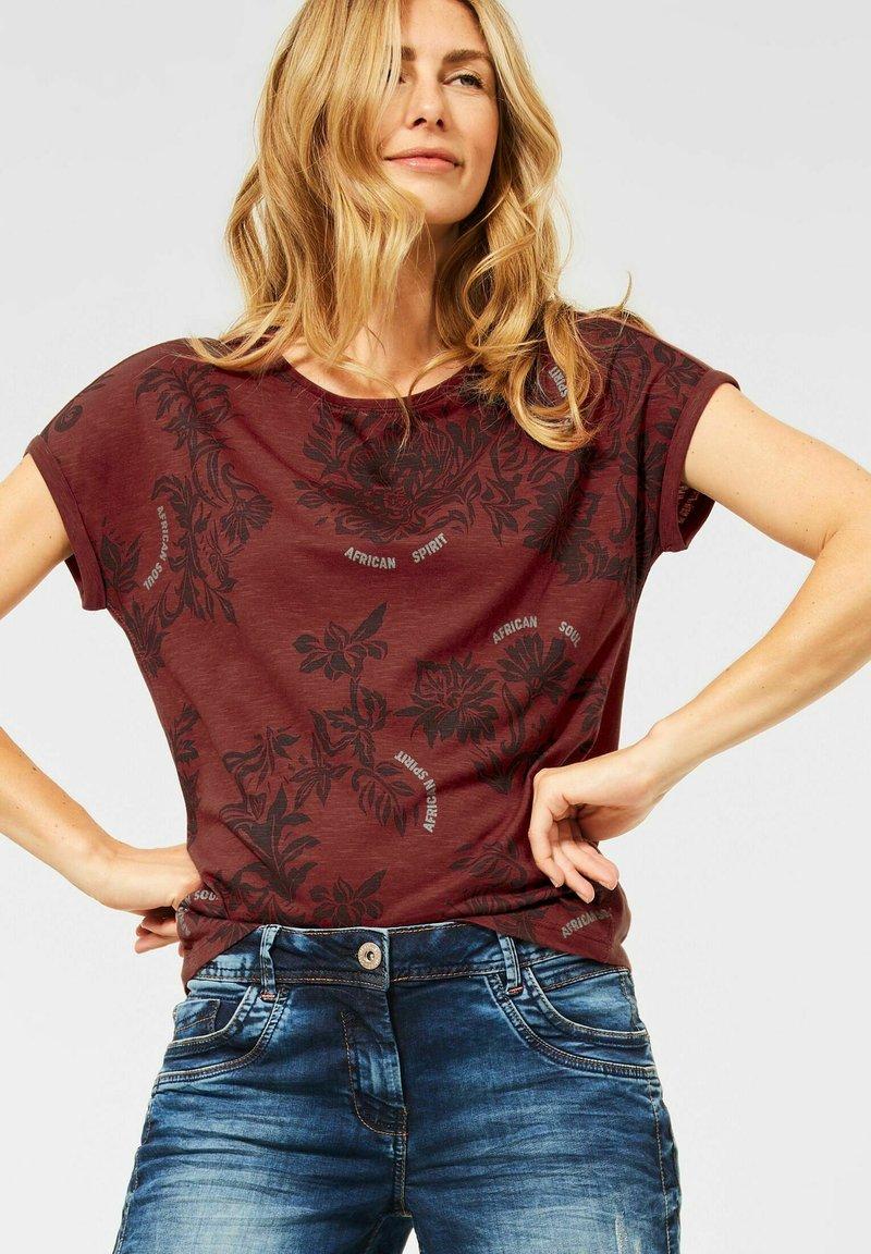 Cecil - Print T-shirt - braun