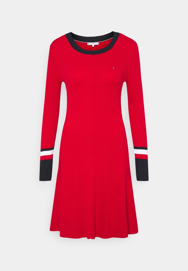 WARM FIT & FLARE DRESS - Sukienka dzianinowa - primary red