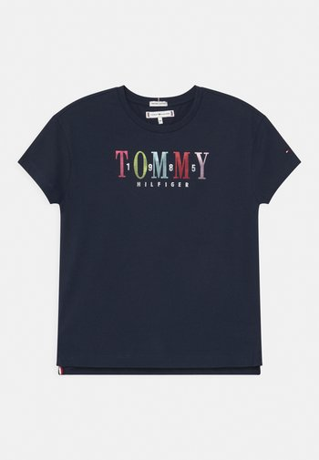 MULTI TEXT - Print T-shirt - twilight navy