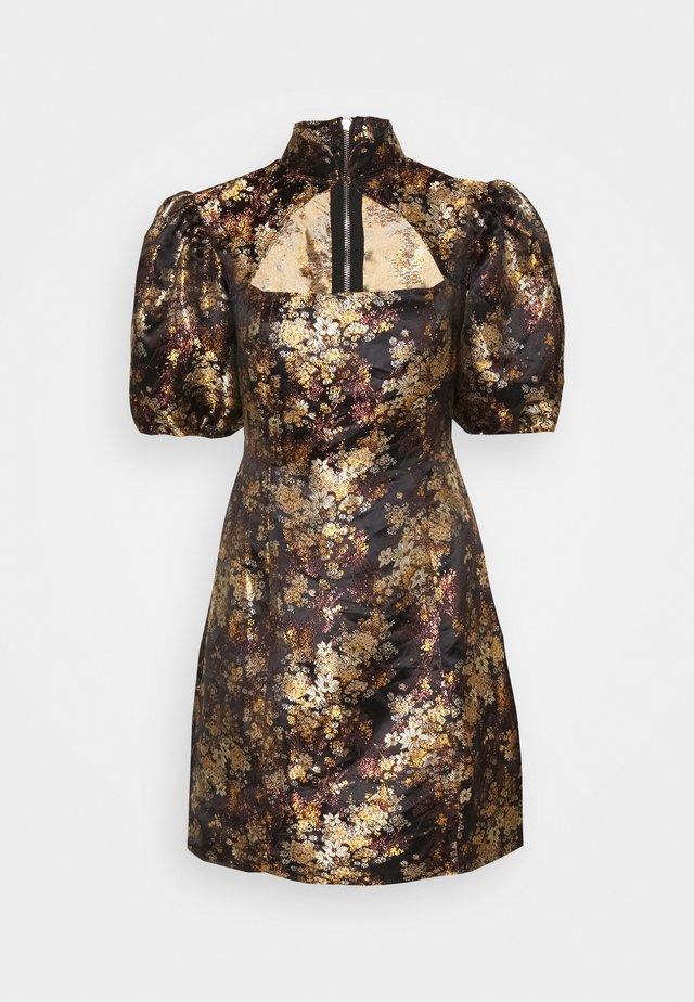 PUFF SLEEVE CUT OUT NECK DRESS - Vestito elegante - black
