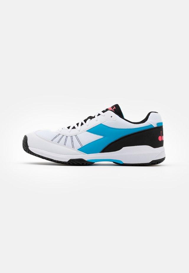 S.CHALLENGE 3 AG - Buty tenisowe uniwersalne - white/blue fluo