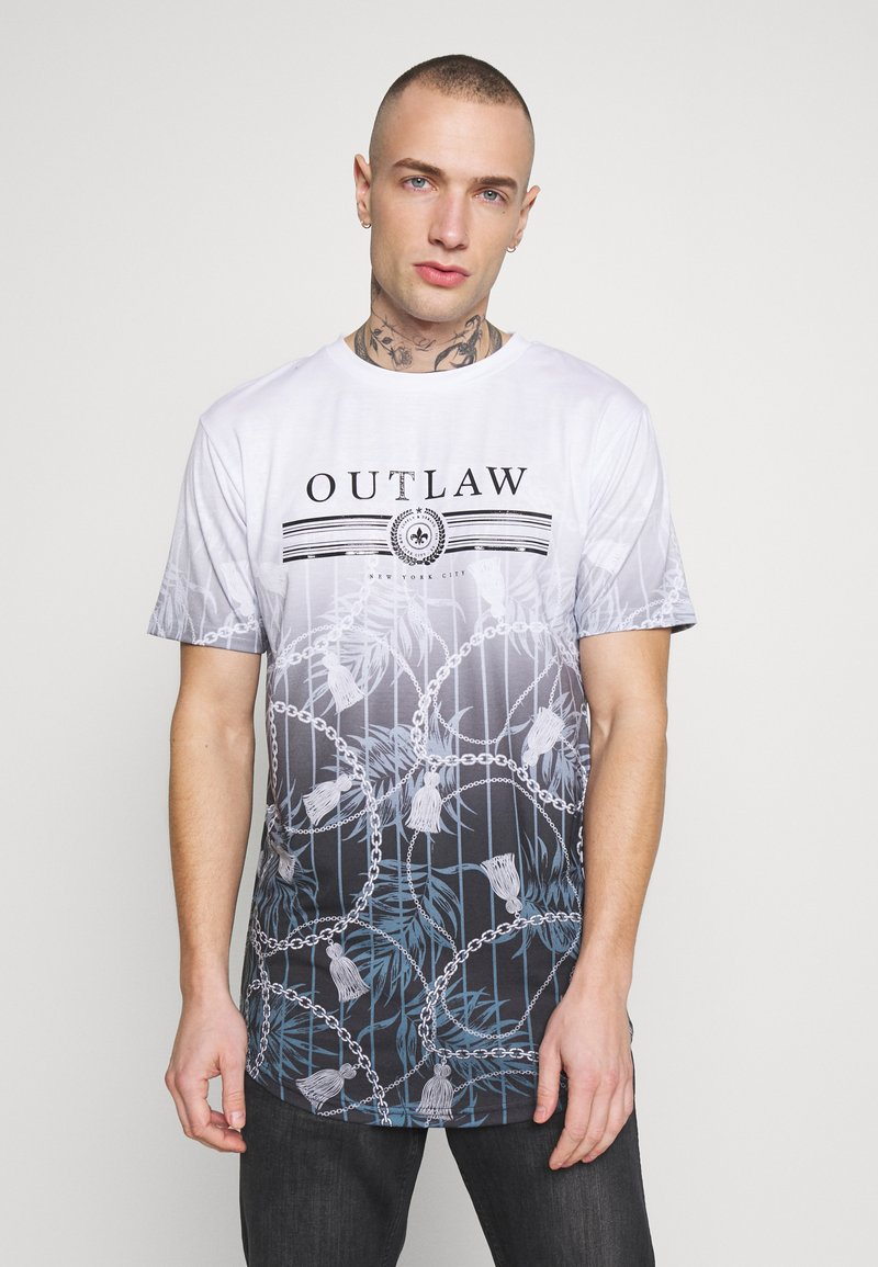 Supply & Demand - BLOOM WITH FADE PRINT - T-shirt con stampa - white/black fade
