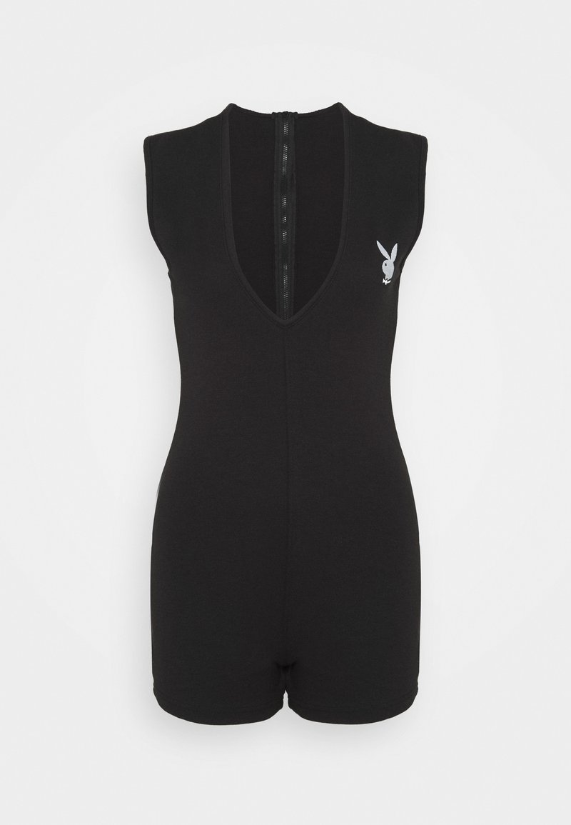 Missguided - PLUNGE LOGO UNITARD - Jumpsuit - black