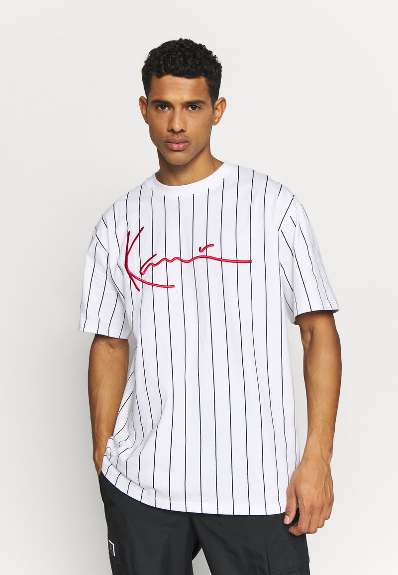 Karl Kani - SIGNATURE PINSTRIPE TEE - Print T-shirt - white/black/red