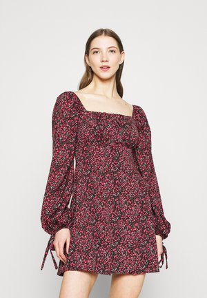 DITSY FLORAL TIE CUFF MINI DRESS - Kjole - black